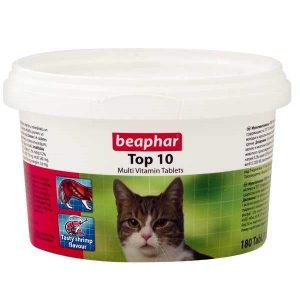 قرص مولتی ویتامین گربه بیفار مدل TOP 10 بسته 180 عددی